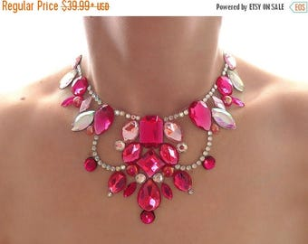 ON SALE Pink Floating Illusion Necklace, Bright Pink Statement Necklace, Pink and Crystal AB Rhinestone Bib Necklace, Pink Illusion Necklace