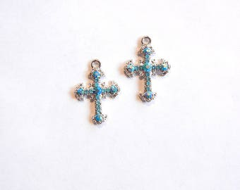 Pair of Small Cross Charms with Blue Turquoise Rhinestones Silver-tone