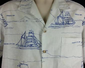 Vintage nautical print shirt clipper ships sailboats blue on white size L large chest 48