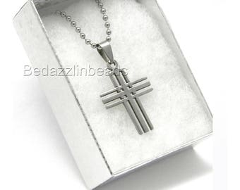 Surgical 304 Grade Stainless Steel Big Cross Necklace Chain in Silver Gift Box