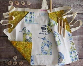 Bird Apron,Laundry Apron,Peg Apron,Peg Pinny,Blue Apron,Embroidered Apron, Birdhouse, Birdhouse apron,Half Apron, Housewarming Gift