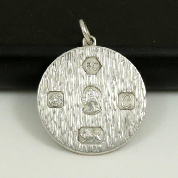 Vintage Sterling Silver Round Ingot Pendant