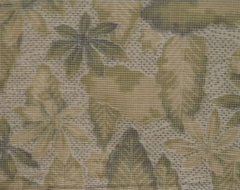 Vintage kimono S670, grey green, leaves design.