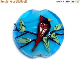 ON SALE 35% OFF 11834502 Summer Red Cardinal Lentil Focal Bead - Handmade Glass Lampwork Bead