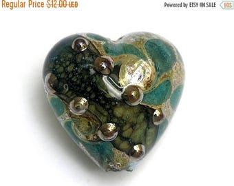 ON SALE 35% OFF Handmade Glass Lampwork Bead 11813805 - Heart Focal Bead - Ocean Blue w/Silver Foil
