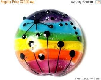 ON SALE 30% off 11835902 Rainbow Balloons Lentil Focal Bead - Handmade Glass Lampwork Bead