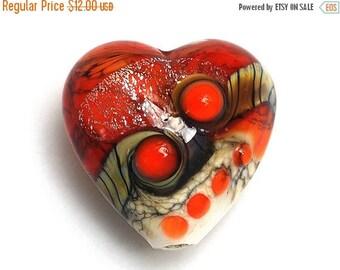 ON SALE 30% off Fire Red Stardust Heart 11831105 - Handmade Glass Lampwork Bead