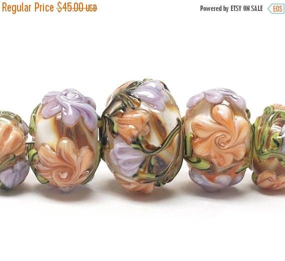 30% OFF Handmade Glass  Lampwork Beads  Sets - Five Graduated Light Pink w/Orange Floral  Rondelle Beads -  10801011