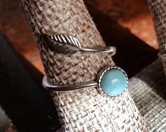 Larimar Sterling Silver Leaf Wrap Ring