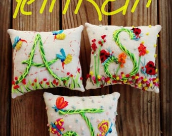 Flowergirl Gift Deluxe Details Original Freehand Embroidered Mini Pillow Any Theme YelliKelli