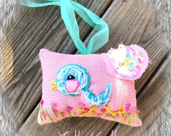 Baby Bluebird Spring Baby Gift Hand Embroidered Ready to Ship