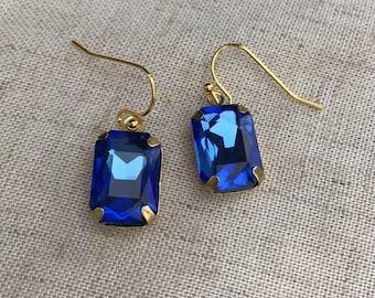 Sapphire blue dangle earrings, blue crystal chandelier earrings. Vintage crystal earrings