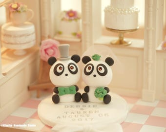 Panda Wedding Cake Topper---k955