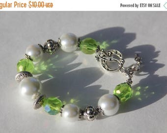 Presidents Day Sale CLEARANCE -  Green Crystal and White Faux Pearl Toggle Bracelet