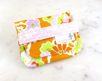 Birth Control Case, Birth Control Holder, Pink and Orange, Floral, Pill Sleeve, Pill Wallet, Birth Control Pouch, Pill Pouch, Heather Bailey