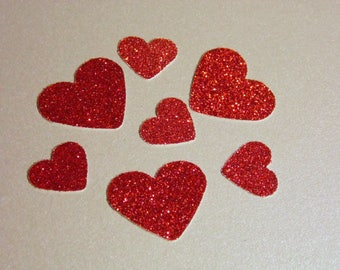 Valentine's Day Glitter Heart Confetti, Table Scatter, Choose color Red, Pink, White, Lavender, Gold Glitter or Foil