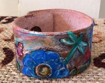 Blue Garden Painted Leather Cuff