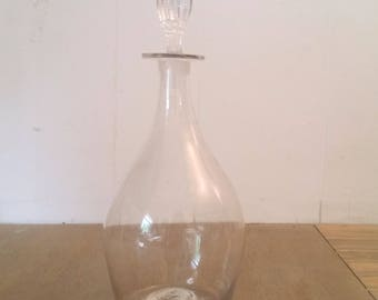 Vintage or Antique Hand Blown Clear Glass Bottle with Stopper
