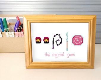 Gem Weapons - Steven Universe Crystal Gems cross stitch digital pattern