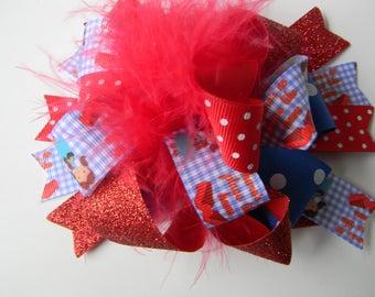 Dorothy Hair Bows-Ott Wizard of Oz Hair Bow- Ruby Red Slippers hair clip