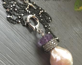 Baroque Pearl Pave Diamond Pendant