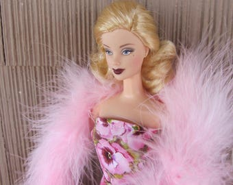 Handmade Basic Barbie Doll Clothes Pink Pansy Evening Gown with Feather Boa