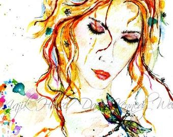 Girl Art, Dragonfly Art, Art Print, Watercolor Print, Watercolor Painting, Bohemian Girl Painting, Dragonfly, Colorful Art, Majik Horse
