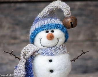Needle Felt Snowman - Needle Felted Snowman - Christmas Snowman - Christmas Decoration - Christmas Decor -  Wool Snowman - Winter Décor -849