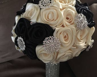 Wedding brooch bouquet in ivory/black satin handmade roses