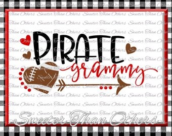 Football SVG Pirate Grammy Svg Distressed Football pattern Vinyl Design SVG DXF Silhouette Cameo  Cricut  Instant Download Football Design