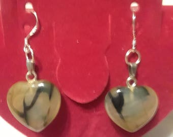 Yellow and Black Dragon's Vein Agate Heart Earrings