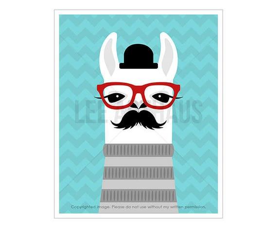 22J Animal Print - Llama Wearing Red Glasses with Mustache Wall Art - Moustache Print - Modern Hipster Animal Print - Whimsical Animal Art
