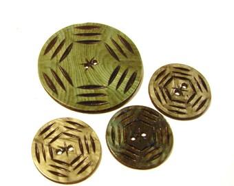 Four Celluloid Wafer Buttons - Green