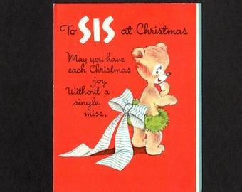 Vintage Christmas Greeting Card for Sis