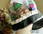 Multi Colored Silk Patchwork Leaves on Pale Gray Cotton Cloche Hat