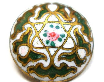 """1900s Antique Enamel Button, Green & white cloisonne with rose, 1/2""""."""