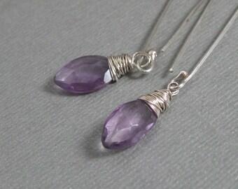 Amethyst marquis broilette drop earrings with handmade sterling ear wire, Long amethyst gemstone dangle earrings