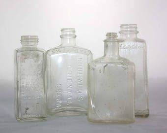 Vintage Bottle Collection - Apothecary and Cosmetics Bottles - Clear Glass Bottles - Pharmacy - Set of 4 - Instant Collection - Home Décor