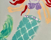 Hand painted mermaid notecard