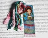 Frida y Su Lluvia de Hojas - laminierte Lesezeichen handgefertigt - Originaldruck von FLOR LARIOS