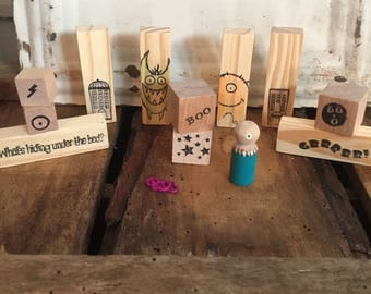 Wooden monster storytelling blocks pretend montessori waldorf inspired