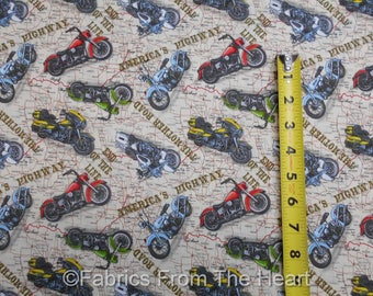 Route 66 American Dream Motorcycles Biker on Maps BY YARDS Blank Cotton Fabric