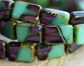 MAJESTIC RECTANGLES .. New 15 Picasso Czech Glass Rectangle Beads 12x8mm (B1049-st)