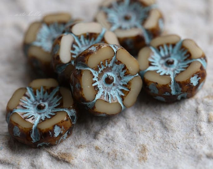 BLUE CREAM PANSY .. 6 Picasso Czech Glass Flower Beads 12mm (4535-6)