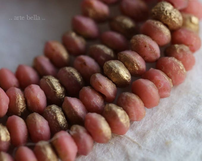 PEACHY PINK STONES .. New 50 Premium Picasso Czech Glass Beads 3x4mm (6055-30)