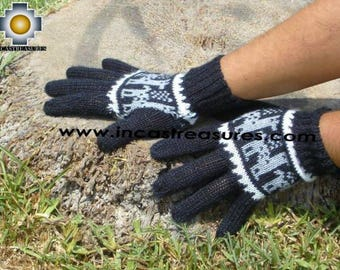 100% alpaca gloves with llama designs black
