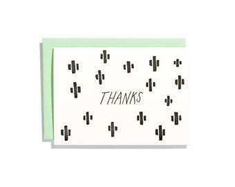 Cactus Black - Letterpress Thank You Card - CT097