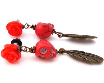 6g 4mm Dangle Plugs Red Rose for Stretched Ears-Piercing-Surgical Steel- Bohemian Gauges-316L Fashion Plugs-Girly Hippie Plugs- Boho Plugs