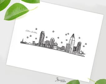 Charlotte, North Carolina - United States - Instant Download Printable Art - City Skyline Series