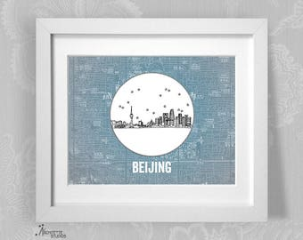 Beijing, China (Blue) - Asia/Pacific - Instant Download Printable Art - Vintage City Skyline Map Series